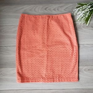 MAX STUDIO coral eyelet A-line skirt A1